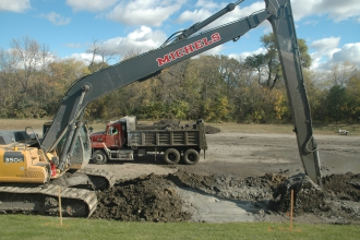 Michels constructed a 1,200-foot slurry trench near the riverward toe of a levee at the south end of the Bois de Sioux Golf Course.