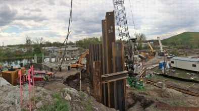 Michels built caissons and installed H-pipes for the Torrence Avenue Bridge along the Grand Calumet River.