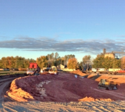 Michels performed extensive work to turn an 18-acre open field into a site suitable for construction of a large warehouse, parking lot and a storm water pond.