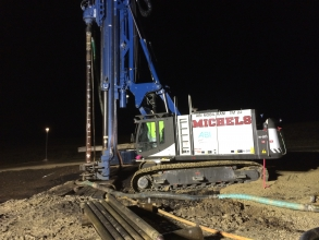 Michels installed 120 micropiles to construct a deep foundation system to support new drive tunnels for Epic's underground parking structure.