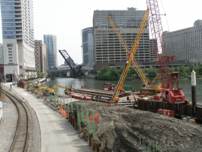Michels installed caissons on a small site along the in downtown Chicago. The caissons ranged in diameter from 4 to 6 feet and were drilled to an average depth of 90 feet.